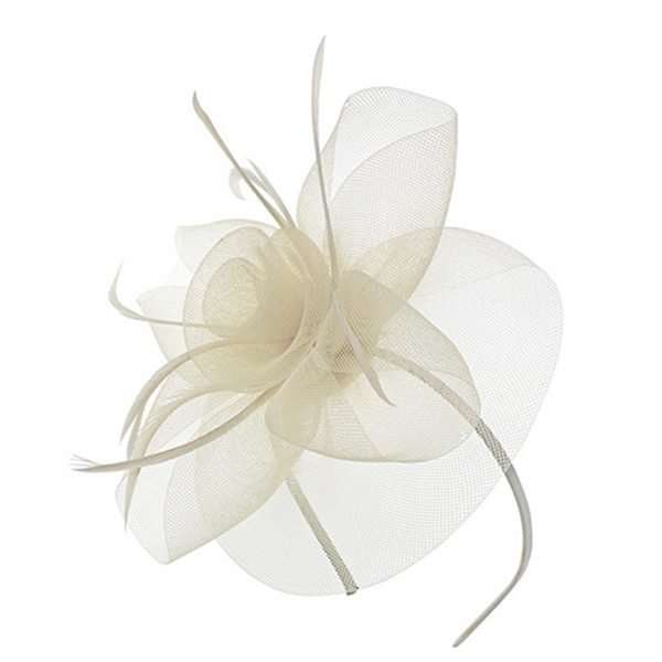 cream coloured feather fascinator