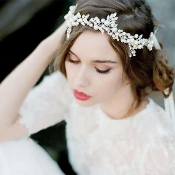 Pearl embellished hair vine