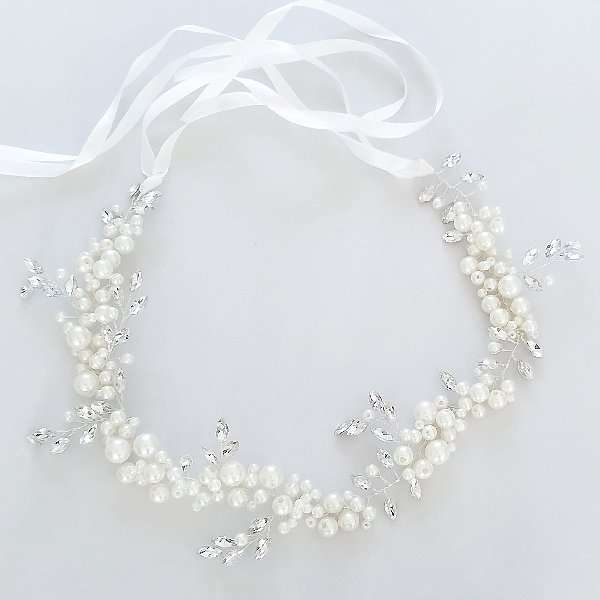 Bridal hair vine with pearls and Swarovski crystals