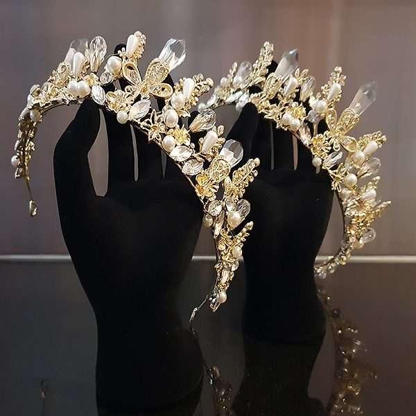 Bridal crown, wedding tiara, gold crown