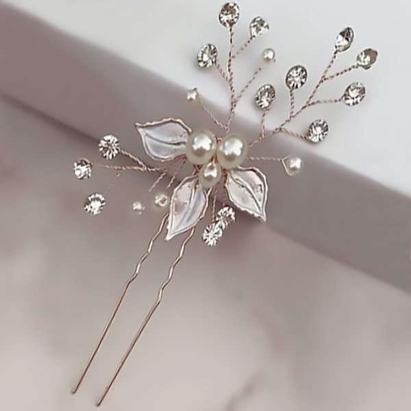 Brushed Rose hair pin