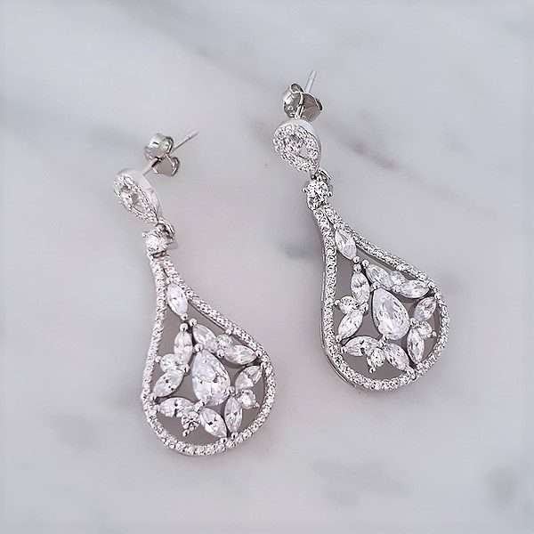 Halo bridal and event earrings