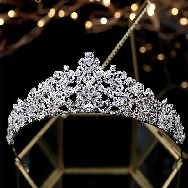 Wedding crown, cubic zirconia crown