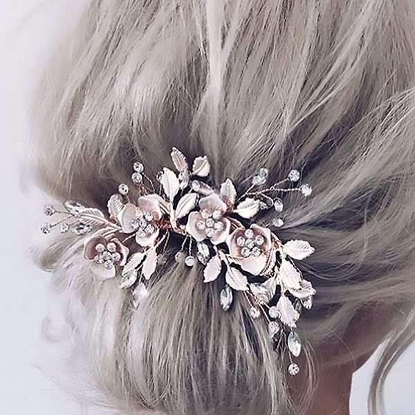 Rose floral side headpiece