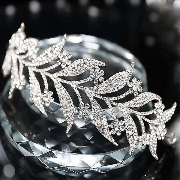 Crystal leaf headband