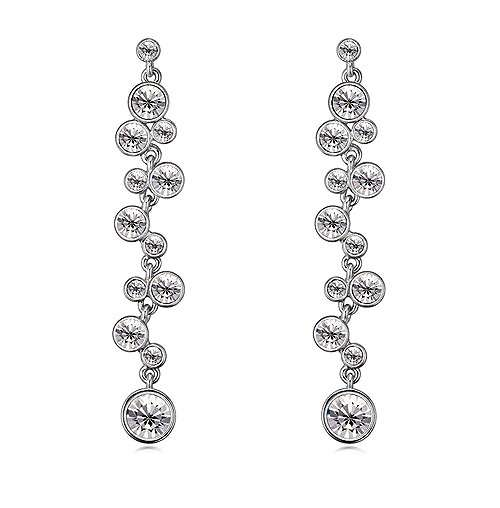 Long drop crystal earrings