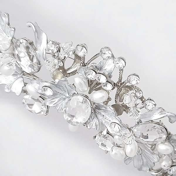 Brushed silver bridal crown