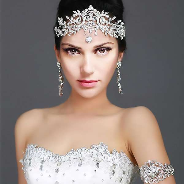 Crystal drop headband for the bride