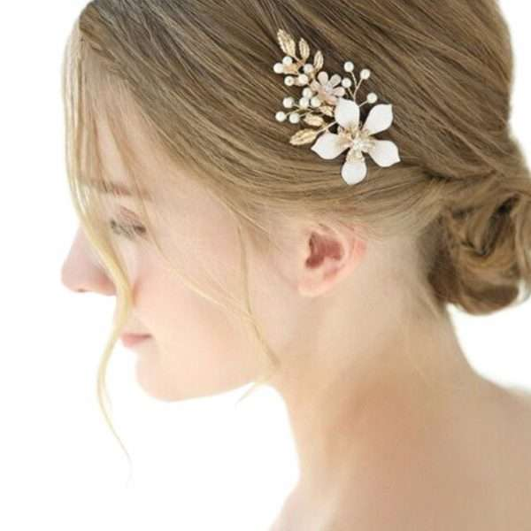 hair pin with a frangipani flower, wedding accessories