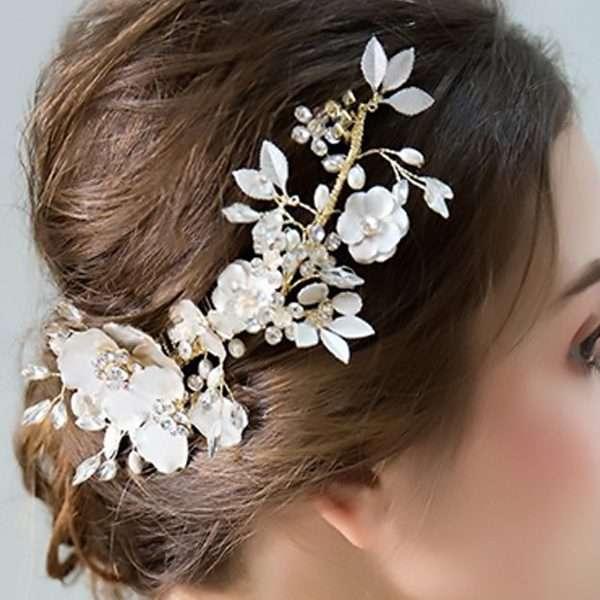 Floral Silver Foil Hair Comb