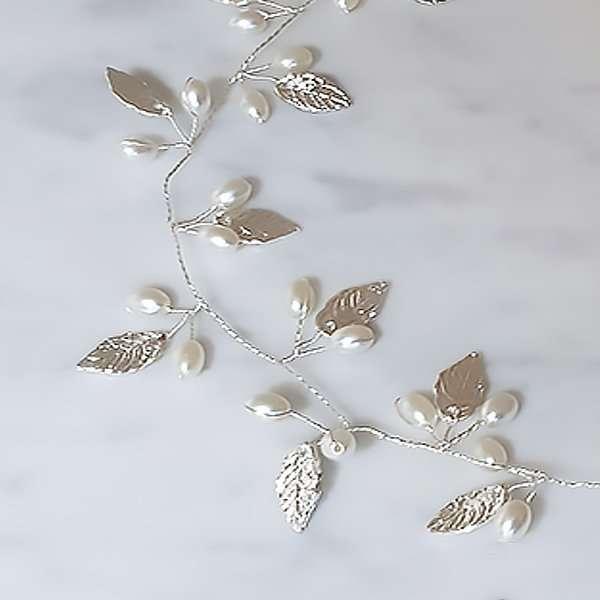 Silver freshwater pearl hair vine