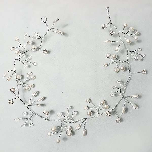 Rice pearl Swarovski crystal hairvine