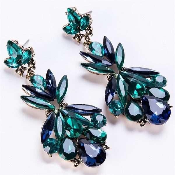 Crystal emeral andblue earrings