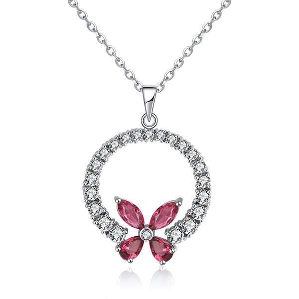 Magenta butterfly necklace