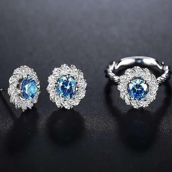 Aurora Blue earrings and ring setSet