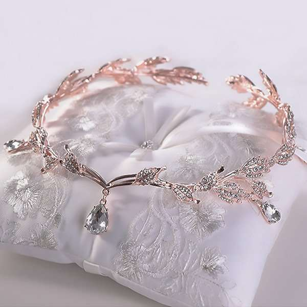 Rose coloured crystal drop headband