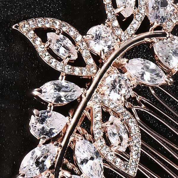 Rose Gold Cubic Zirconia haircomb