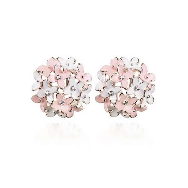 Floral luxe pink and white earrings