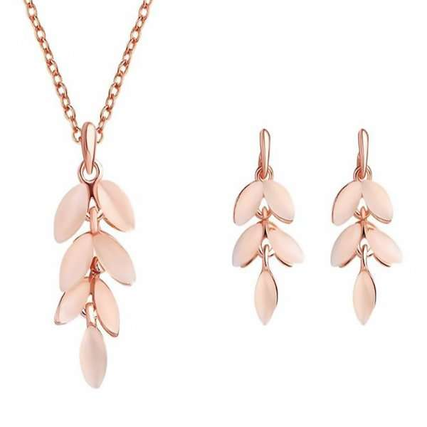 Rose gold leaf drop necklace and earrings