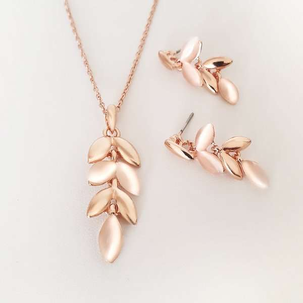 Rose Gold drop earring and necklace set