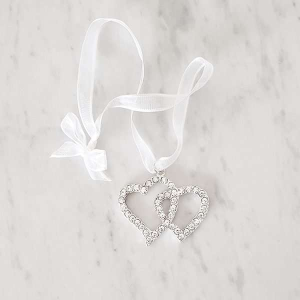 Doucle heart charm made from crystal