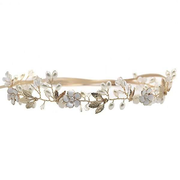 Golden twined bridal hair vine
