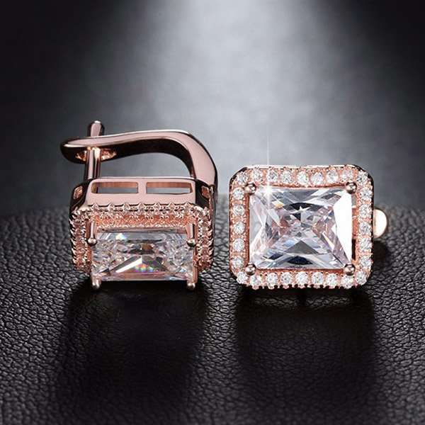 Emerald cut earrings in rose gold