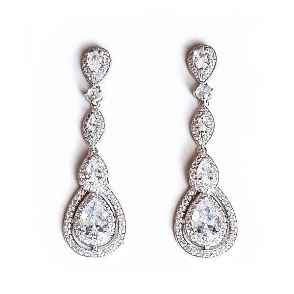 CZ long drop earrings