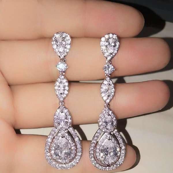 Cubic Zirconia long drop earrings
